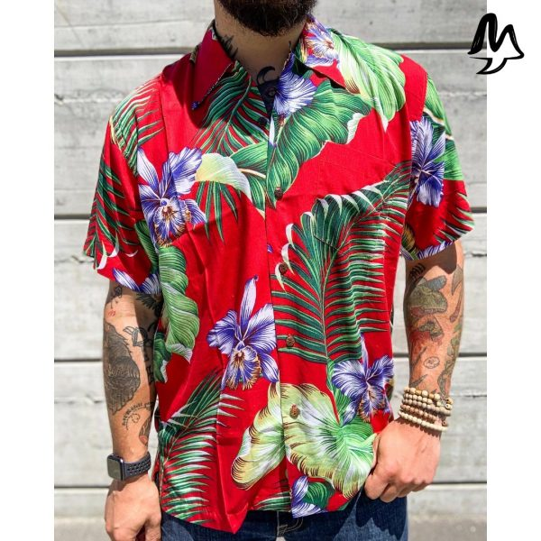 Camicia Hawaiiana Manoa rossa