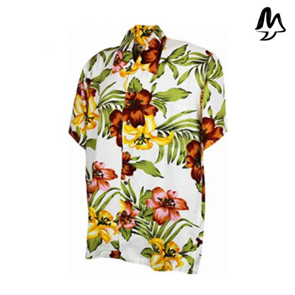 Camicia Hawaiana bianca
