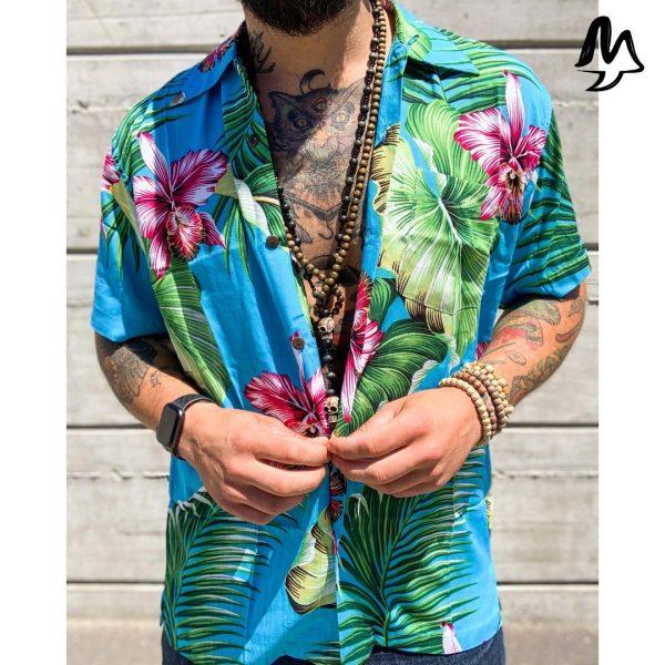 Camicia Hawaiana azzurra
