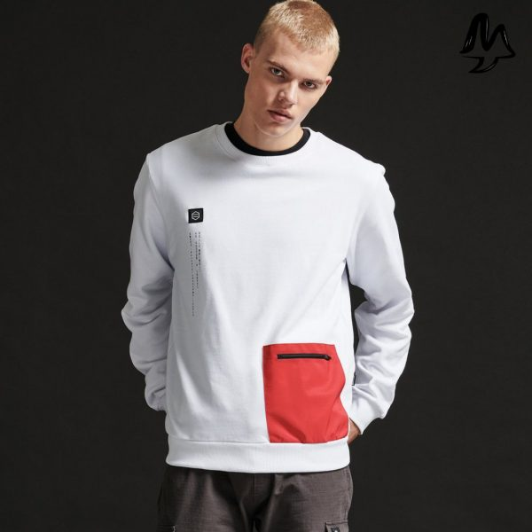 Felpa Dolly Noire Pocket Crewneck White & Red